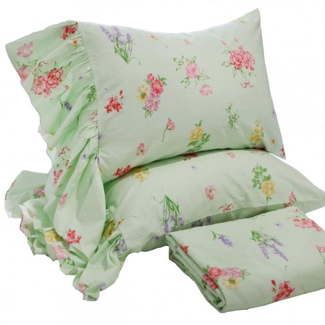 Mermaid Long Ruffle Pillowcase-Green