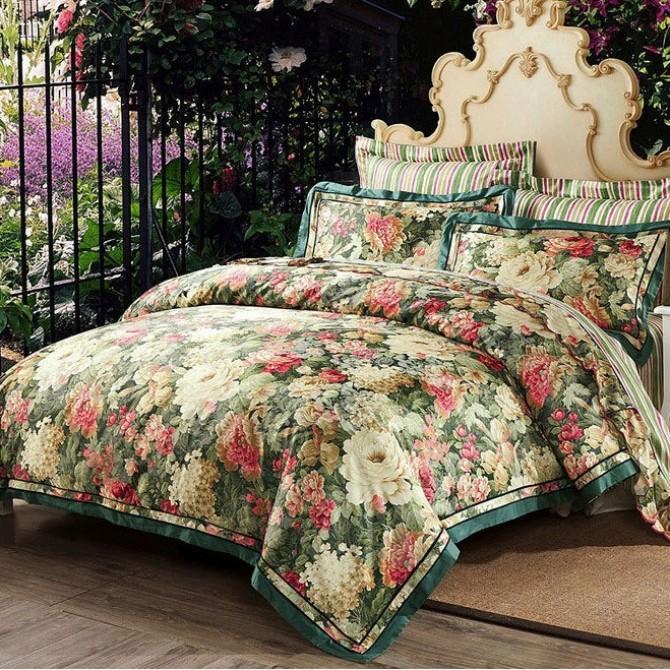 Jacquard Floral Queen Duvet Cover Set-Green