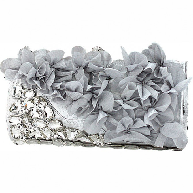 Pedal Flower Purse,  Grey