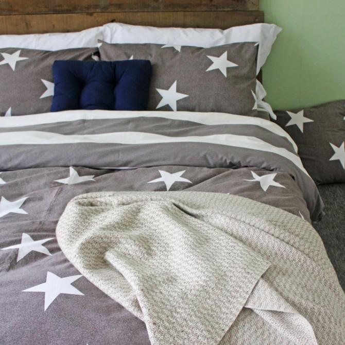 Grey Stars Duvet Cover Set