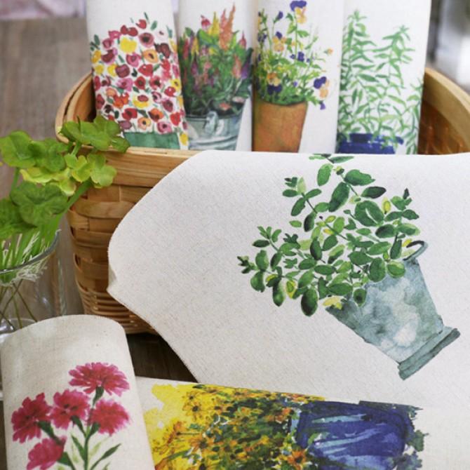 Handmade Botanical Print Fabric