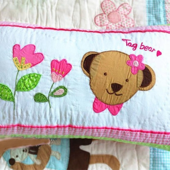 Kids Bear with Flowers Decorative Cushion Cover