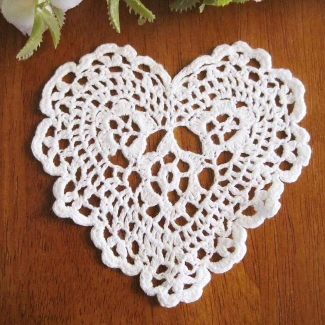 Heart Crochet Doilies 12 pcs