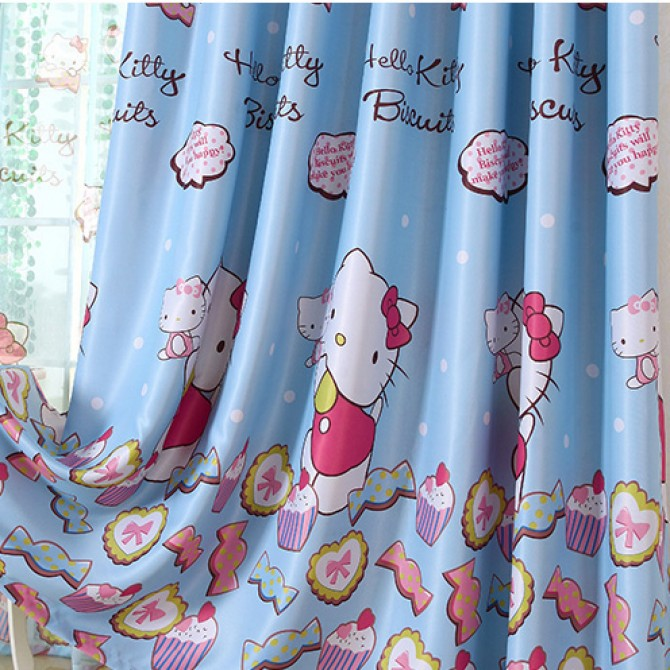 Hello Kitty Candy Cupcake Blue Blackout Curtain