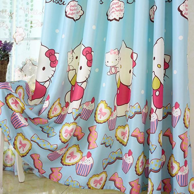 Hello Kitty Candy Cupcake Blue Curtain