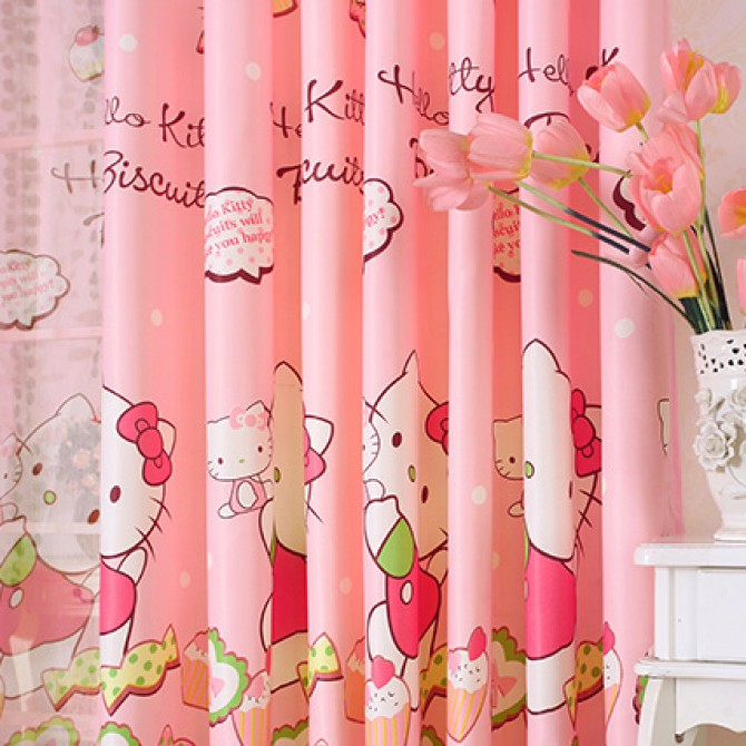 Hello Kitty Candy Cupcake Pink Curtain