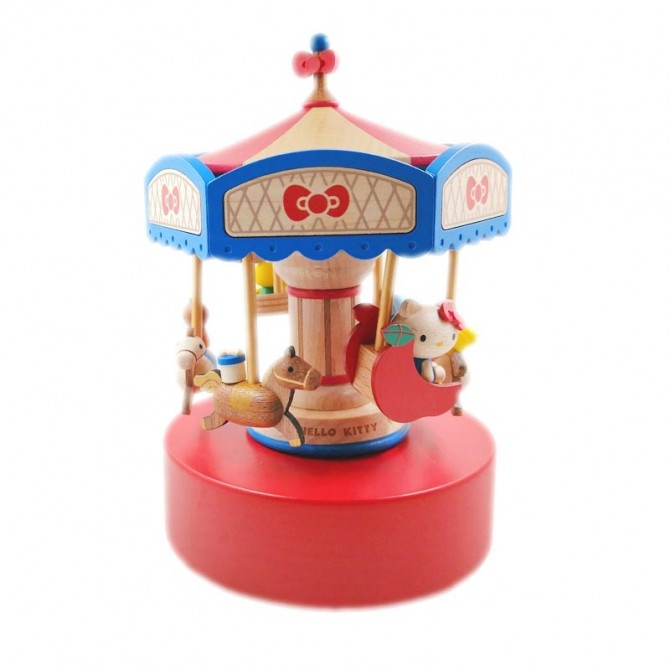 Hello Kitty Carousel Music Box Merry Go Round