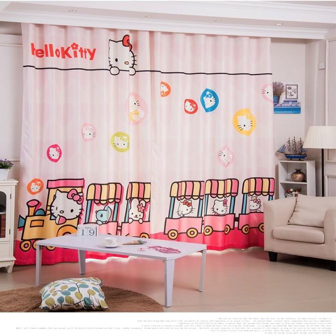Hello Kitty Choo Choo Train Pink Curtain Set