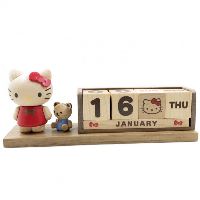 Hello Kitty Perpetual Calendar, Wooden Block Daily Calendar Home and Office Decor