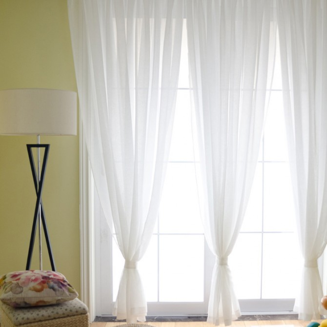 Custom Made Linen Blend Sheer Panel