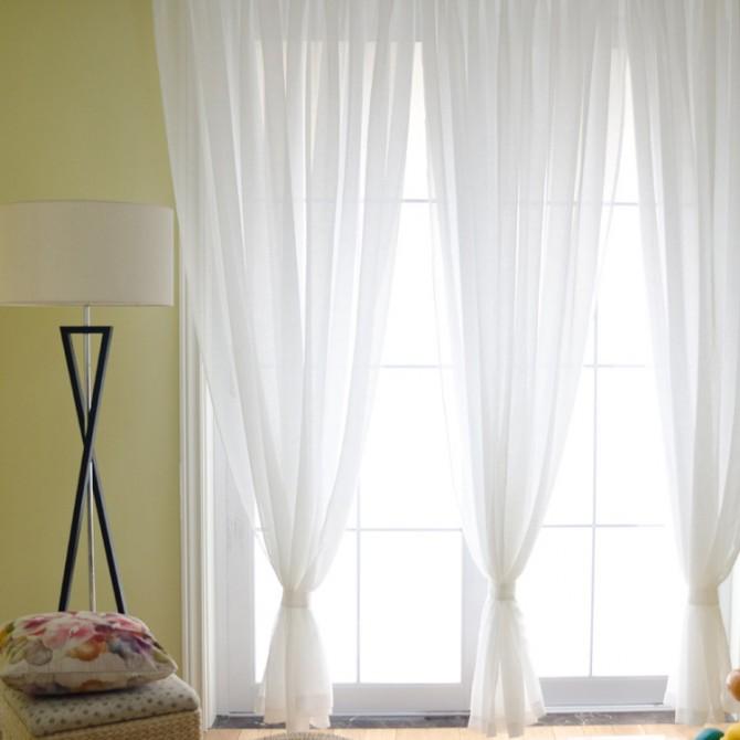 Linen Blend Sheer Panel Fabric Swatch