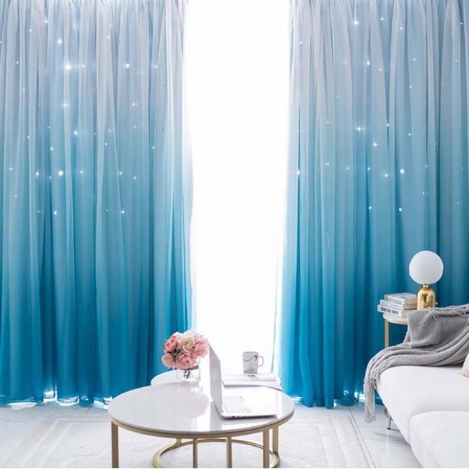 Stars Blockout Curtains in Blue Gradient Design