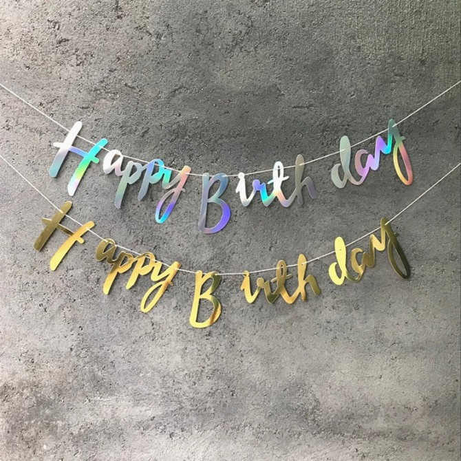 Iridescent Birthday Party Banner