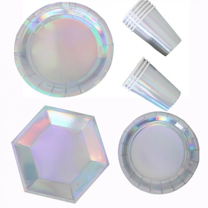 Iridescent Holographic Silver Shiny Party Plates Cups