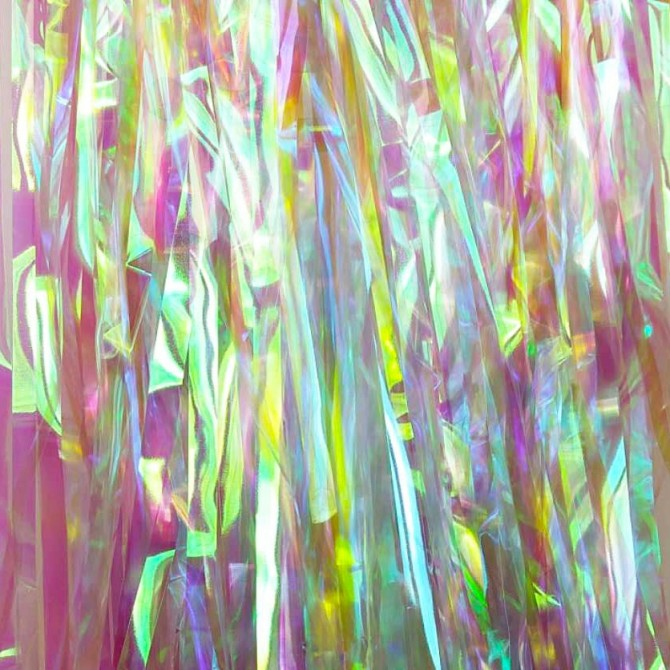 Iridescent Holographic Fringe Foil Mermaid Tassel Curtain