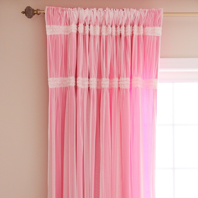 Lace Tulle Overlay Curtain Panel with Mini Rose Lace