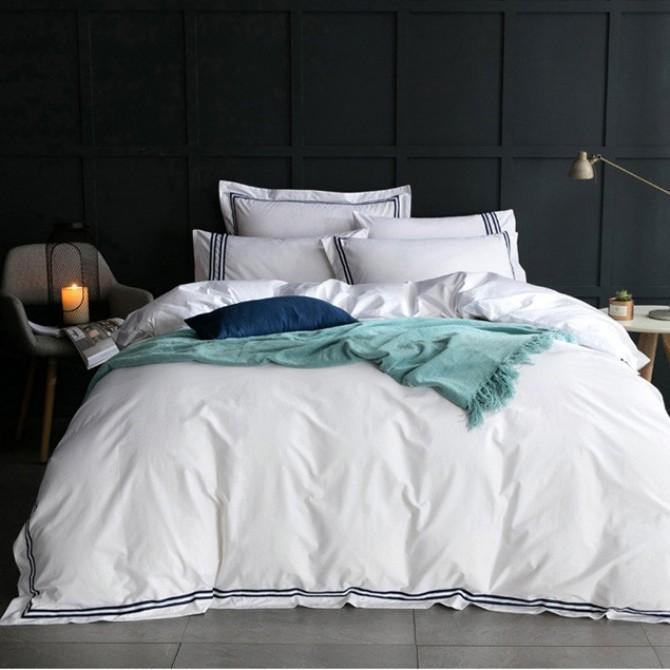 Hotel Egyptian Cotton Duvet Cover Set- Blue Border