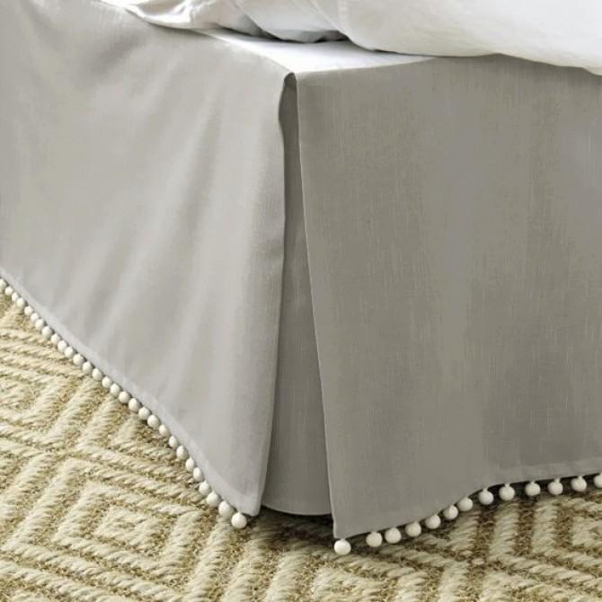 Luxury Grey Bed Skirt with Pom Pom Balls
