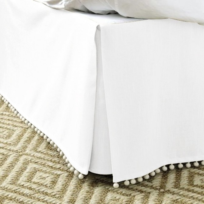Luxury White Bed Skirt with Pom Pom Balls