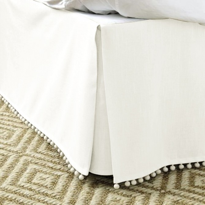 Luxury Cream Bed Skirt with Pom Pom Balls