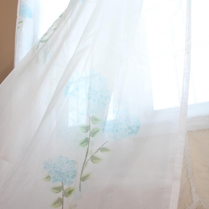 Blue Hydrangea Sheer Curtain Set