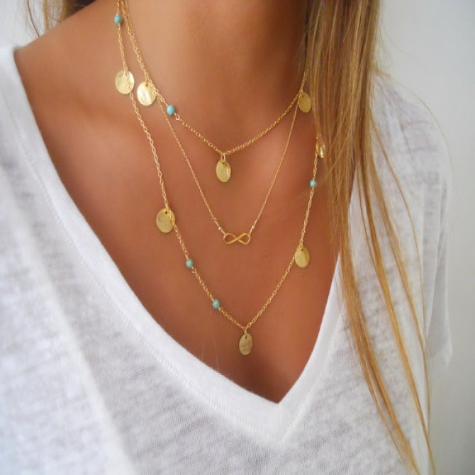 Lariat Triple Layered Coins Necklace