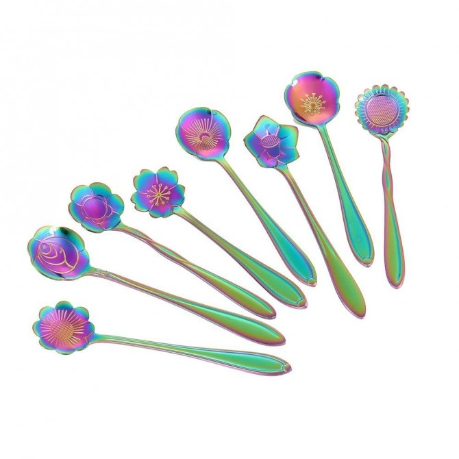 Iridescent Whimsy Flower Teaspoons