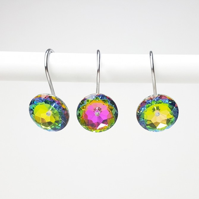 Rainbow Iridescent Rhinestone Crystal Diamond Shower Curtain Hooks Rings
