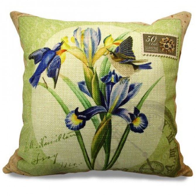 Birds and Iris Cushion Cover