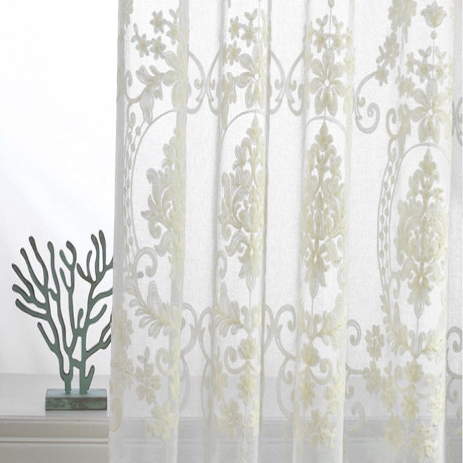 Ivory White Embroidery Sheer Curtain