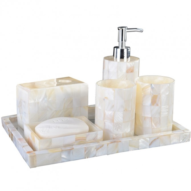Ivory Seashell Bathroom Accessory Set