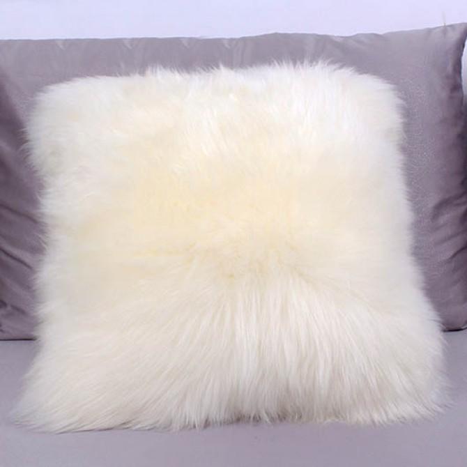 Ivory Sheepskin Fur Wool Cushion Throw Pillow Cover