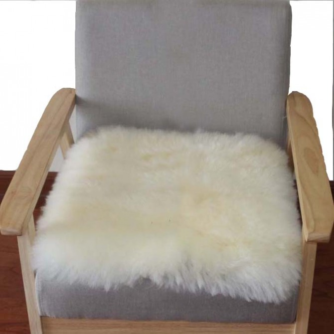 Ivory Sheepskin Chair Cushion Mat