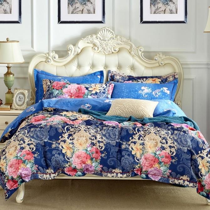 Jacquard Garden Floral Queen Duvet Cover Set- Blue