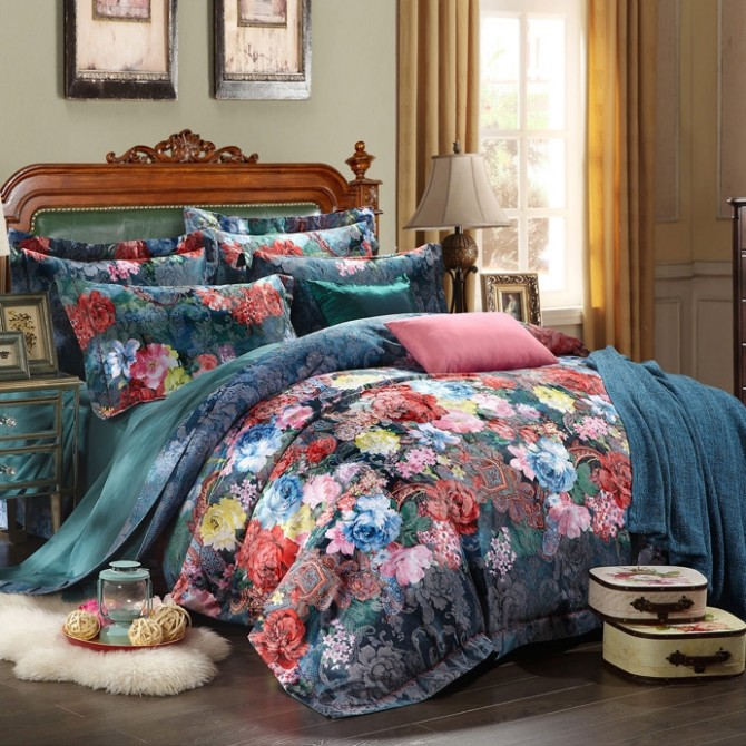 Jacquard Phony Flowers Queen Duvet Cover Set-Dark Blue