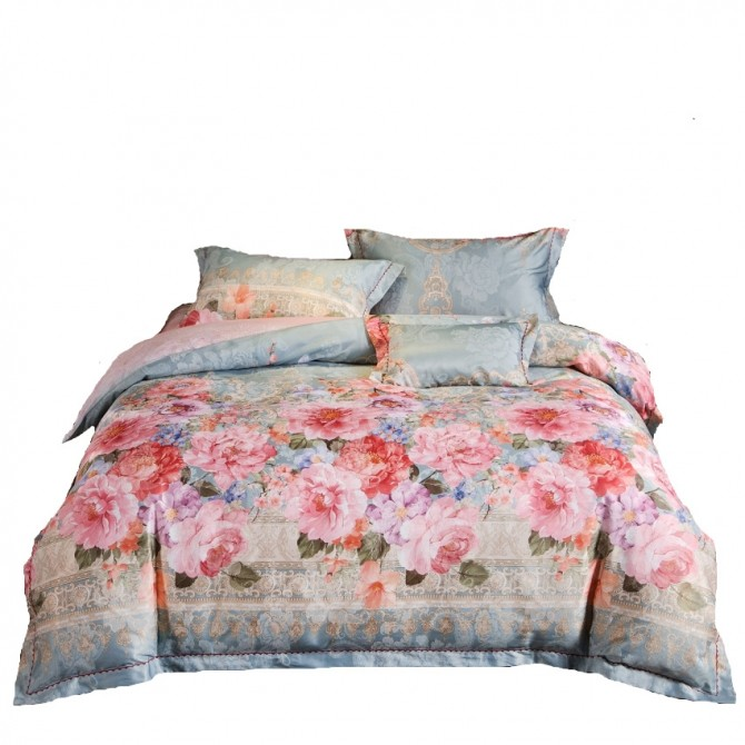 Jacquard Phony Flowers Queen Duvet Cover Set