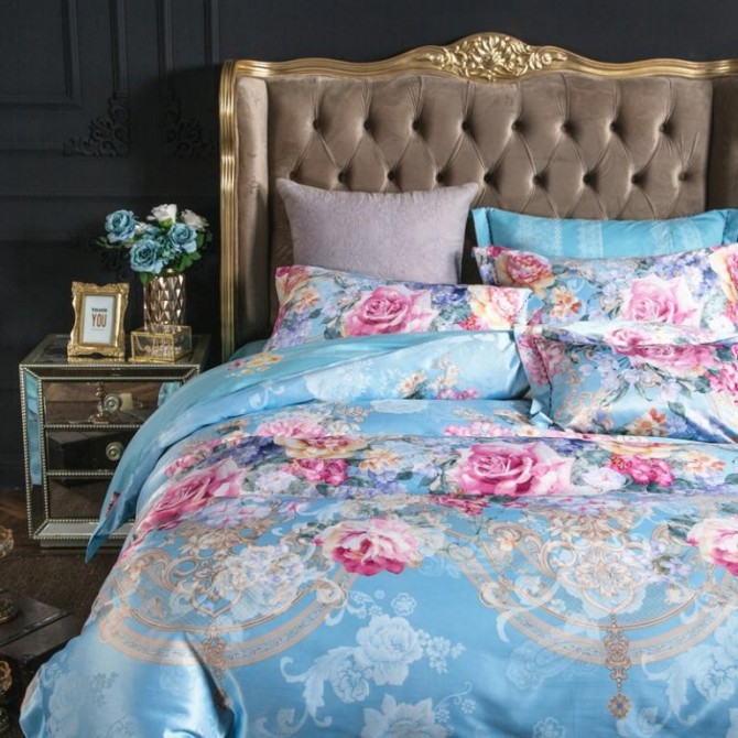 Jacquard Floral Queen Duvet Cover Set-Rose