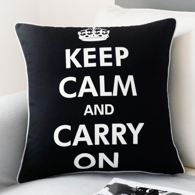 Keep Calm Carry On Cushion Cover
