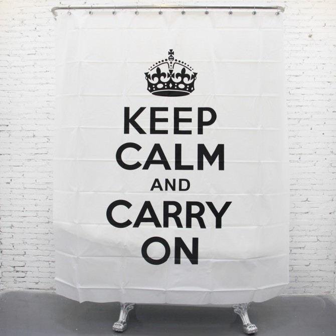 Keep Clam and Carry on Shower Curtain