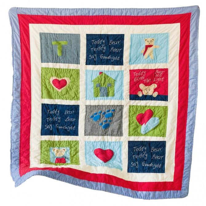 Teddy Bear Goodnight Toddler Quilt Blanket