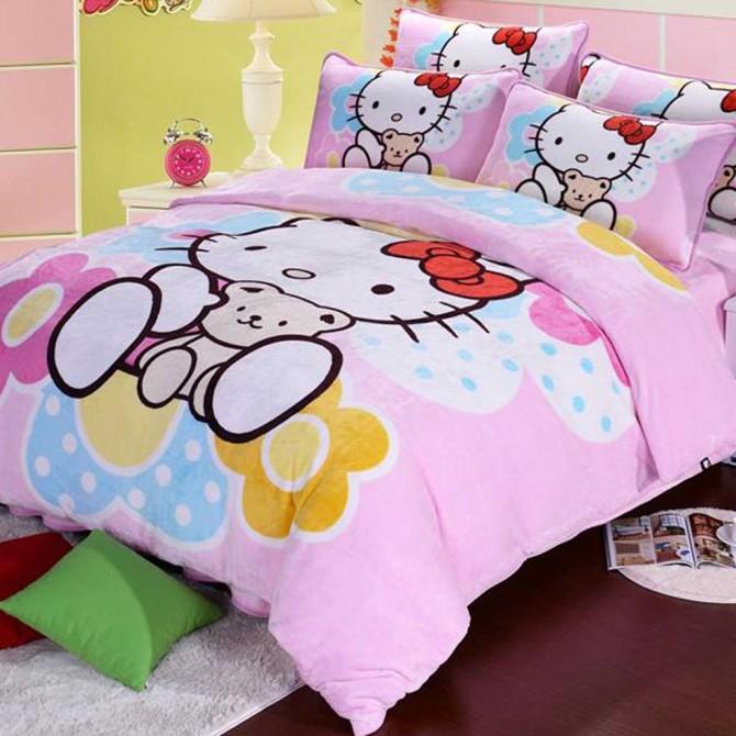 Hello Kitty & Little Bear Fleece Duvet Cover Set