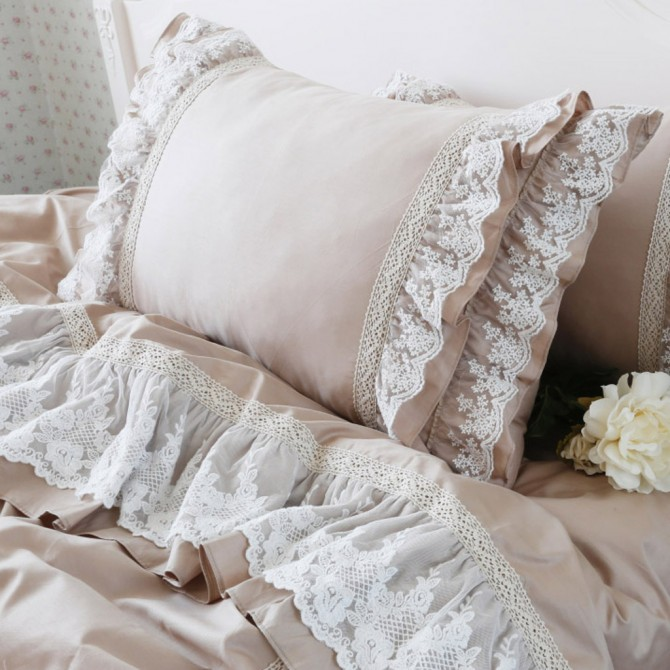 Lace Khaki Duvet Cover Set