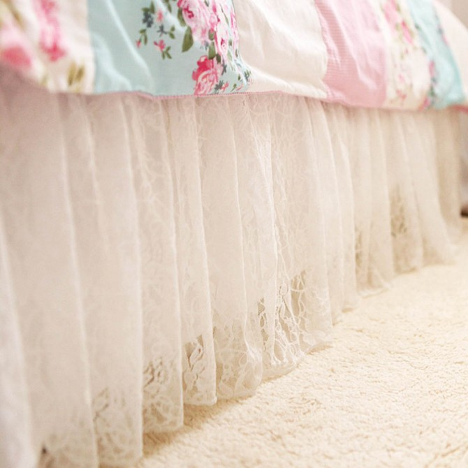 Embroidery Lace White Bed Skirt