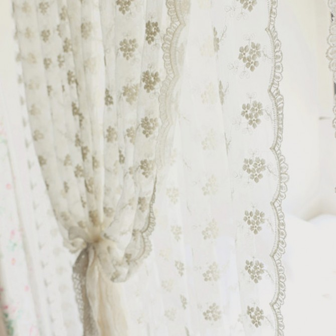 Chic Lace Curtain Panel with Attaced Valance