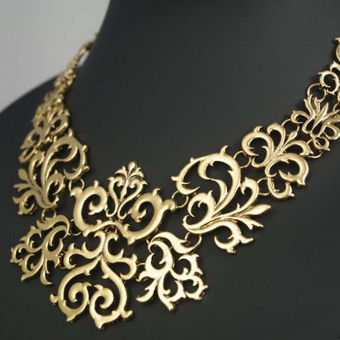 Gold Tone Lace Bib Necklace