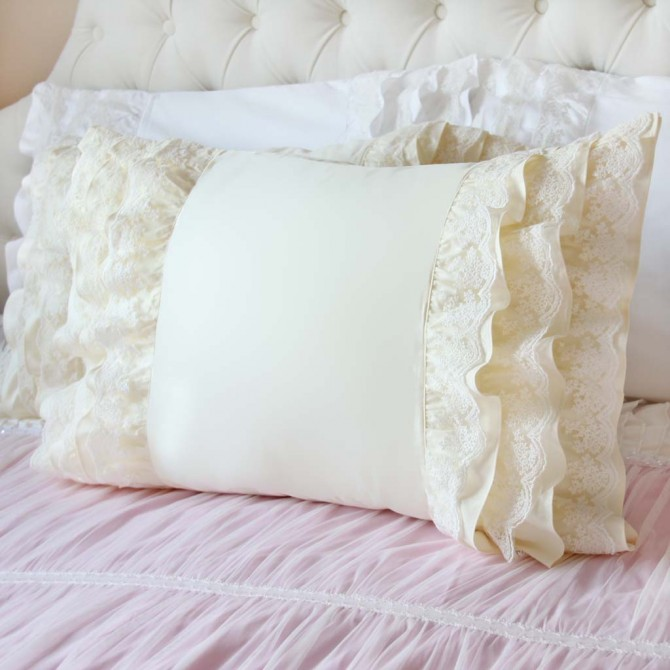 Lace Whisper Pillow Sham, Cream Yellow