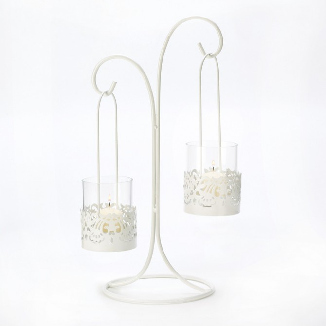 Lace Cutout Candelabra Candle Holder