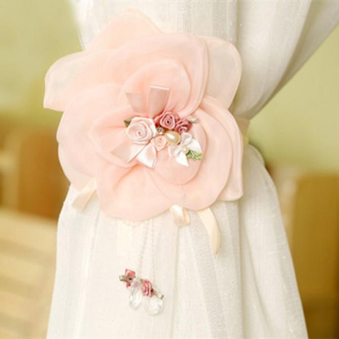 Lace Pink Flower Curtain Tiebacks