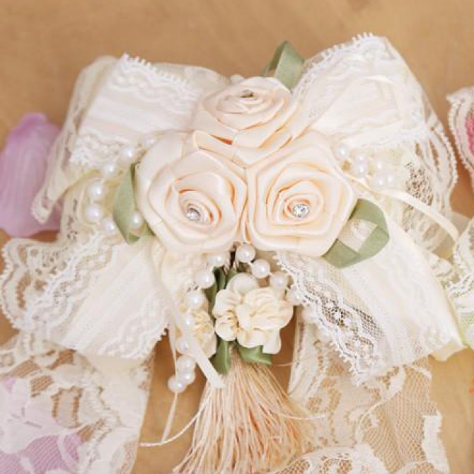 Ivory Rose Flower Curtain Tiebacks