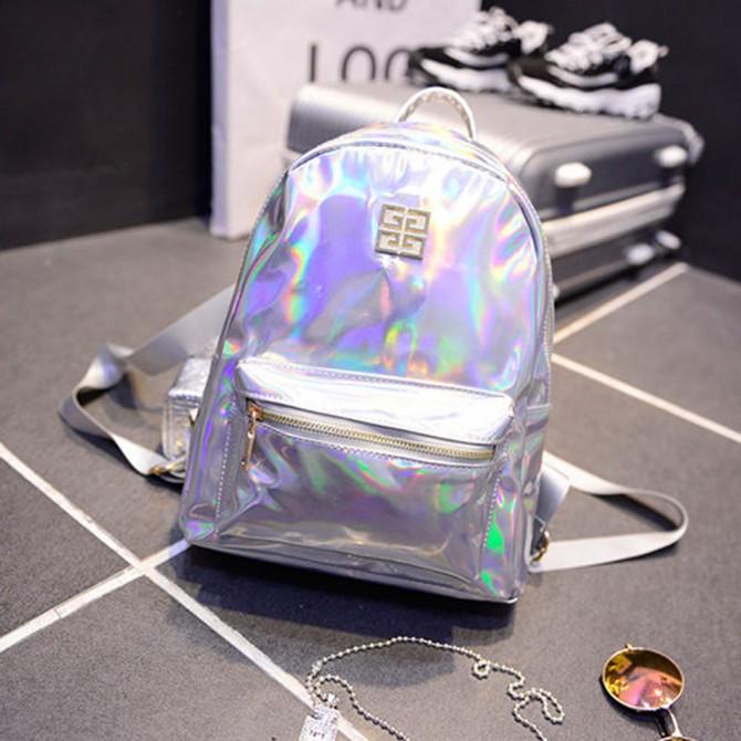 Silver Laser Hologram Backpack
